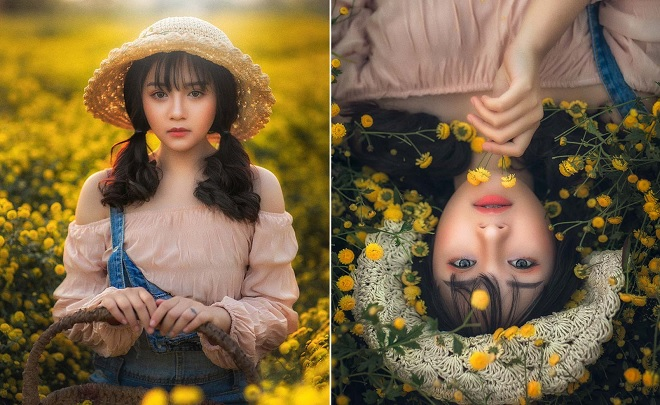 Cô nàng 2k2 Hưng Yên mê hoặc lòng người với bộ ảnh giữa sắc vàng ruộm hoa cúc