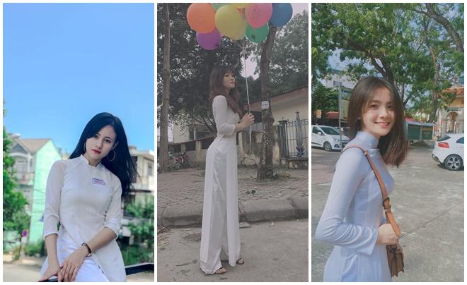 """Chiêm ngưỡng những """"cực phẩm"""" nữ sinh Việt đua nhau thả dáng trong tà áo dài trắng"""