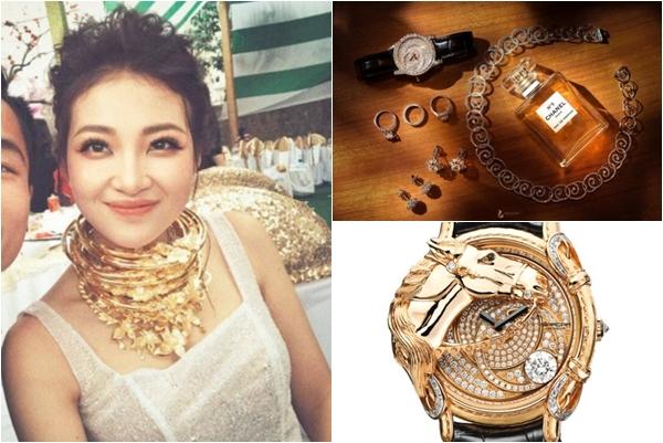 """Bóc giá bộ nữ trang kim cương 9 tỷ và khối vòng vàng """"trĩu cổ"""" của cô dâu 2K Nam Định"""
