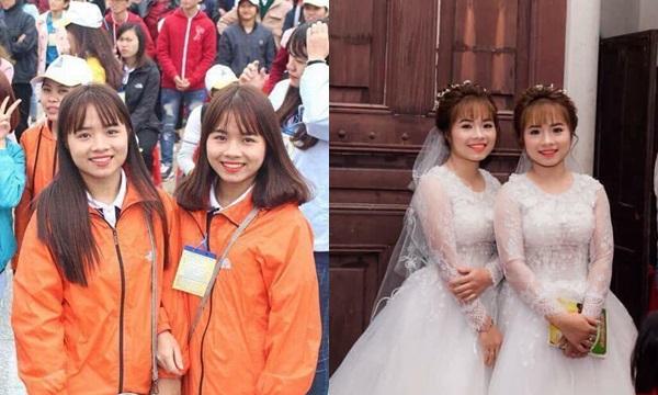 Cặp chị em song sinh học cùng trường, làm cùng công ty và cùng cưới chồng: Chú rể khéo kẻo nhầm!
