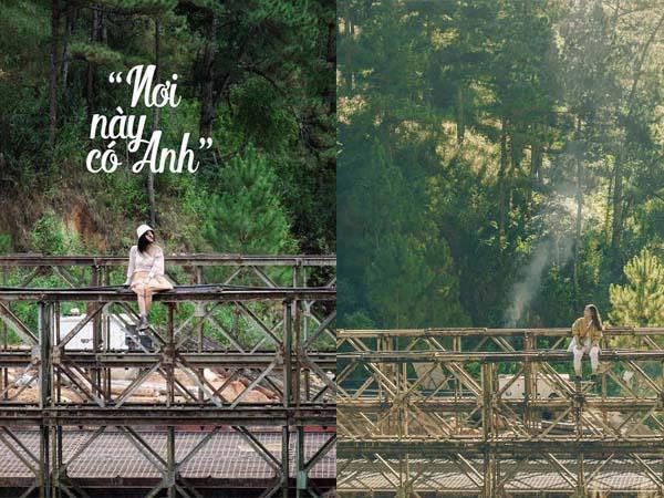 """Đà Lạt lại khiến fan check-in bấn loạn với tọa độ sống ảo """"mới cóng"""": Cầu sắt giữa rừng thông trong MV """"Đố em biết anh đang nghĩ gì?"""""""