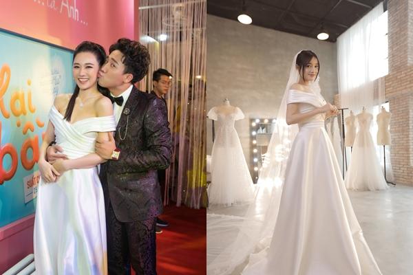 """Mới đầu năm, Hari Won đã bất chấp """"đụng hàng"""" hẳn váy cưới với bà xã Trường Giang"""
