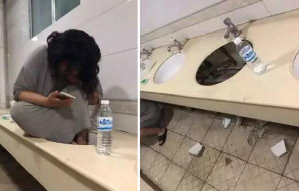Nữ sinh thất tình chui vào nhà vệ sinh khóc tới mức... vỡ cả bồn rửa mặt của ký túc xá