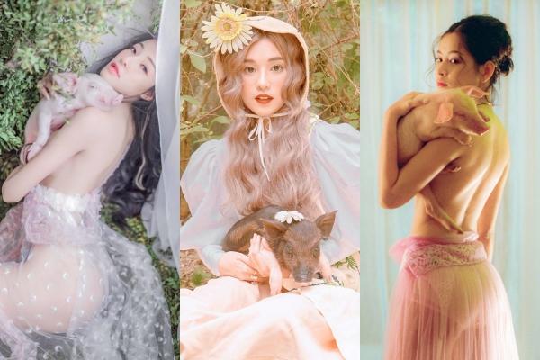 """Khi mỹ nhân Việt """"ôm heo"""" chụp ảnh: Người đẹp tựa thiên thần, người bị ném đá vì quá phản cảm"""