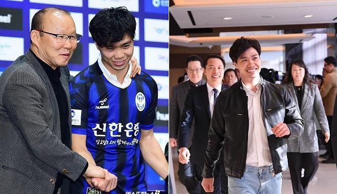 Thầy Park và Công Phượng tay trong tay tại lễ ra mắt tân binh của CLB Incheon United