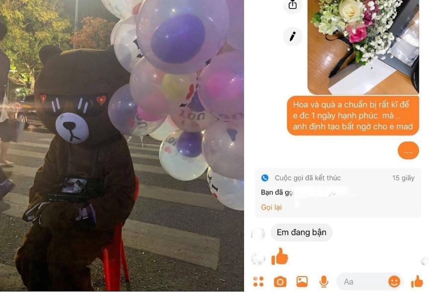 """Bị bạn gái """"bỏ bom"""", chàng trai mặc đồ chú gấu ngồi thẫn thờ thả hết bóng bay và cho người đi đường quà Valentine"""