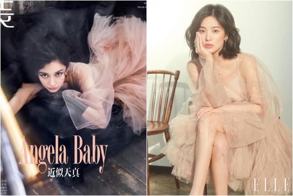 """Diện chung váy, Song Hye Kyo được khen tới tấp vì quá """"sang chảnh"""", Angela Baby bị ví như """"cá vàng bơi"""""""