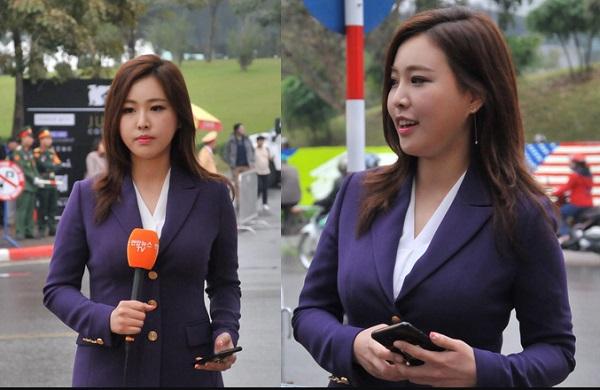 """Nữ phóng viên Hàn Quốc khiến cánh mày râu """"yêu ngay từ cái nhìn đầu tiên"""" khi tác nghiệp trước khách sạn Marriott Hà Nội"""