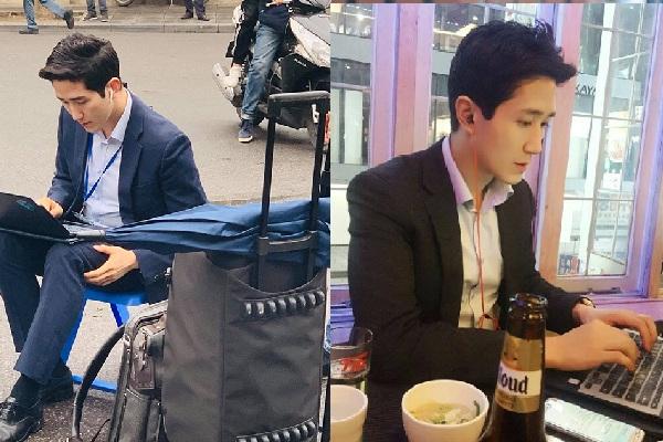 """Lộ thêm hình ảnh đời thường của phóng viên """"mỹ nam"""" Hàn Quốc gây sốt mạng khi tác nghiệp tại Hà Nội"""
