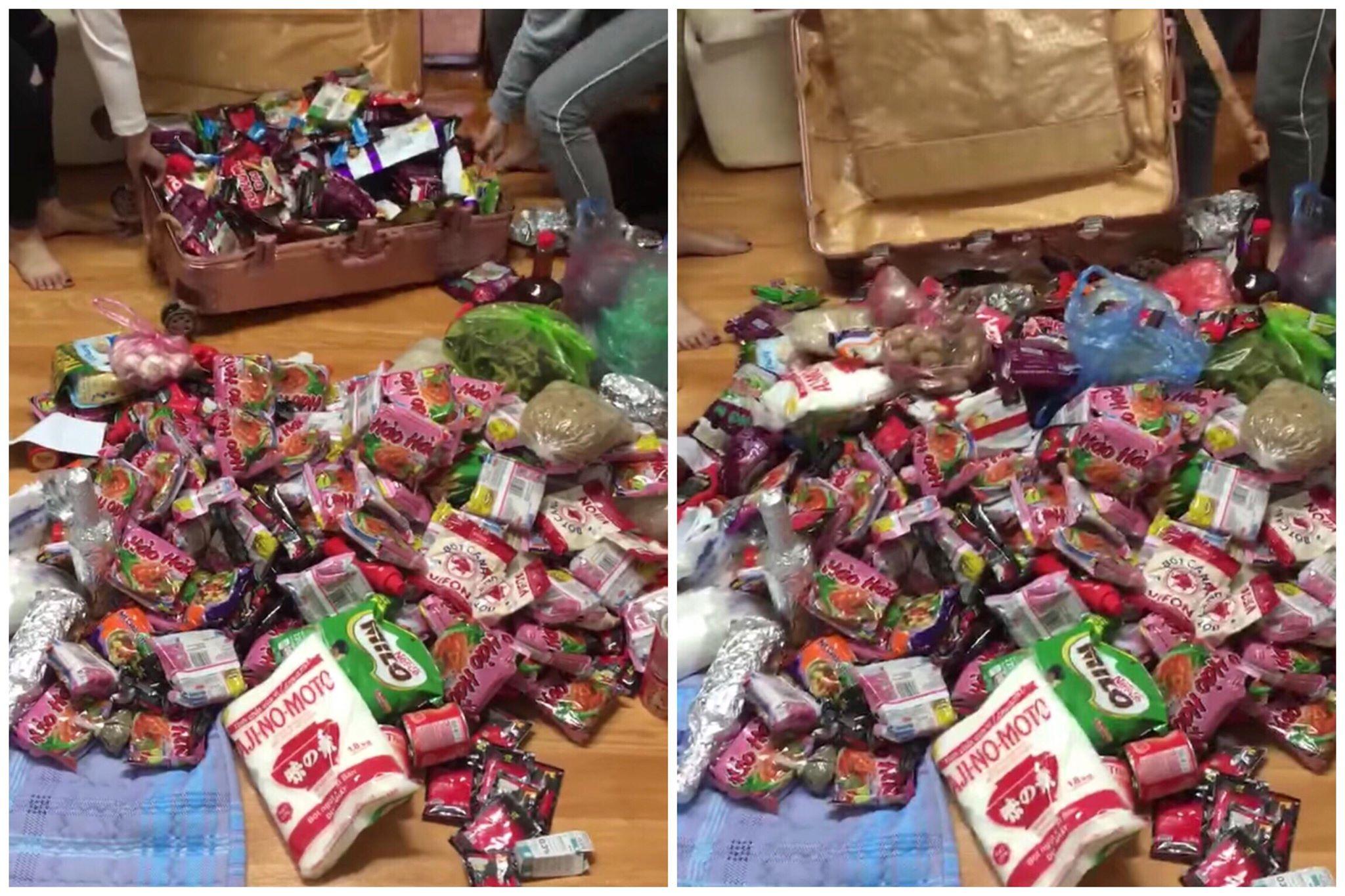Du học sinh đua nhau khoe những chiếc vali chất đầy mỳ tôm, tương ớt... khi trở lại nước ngoài học tập