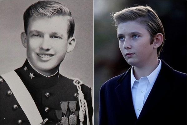 Sự giống nhau đến kỳ lạ về ngoại hình của Tổng thống Donald Trump và cậu con trai út Barron Trump