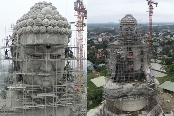 """""""Zoom"""" cận cảnh đại tượng Phật lớn nhất Đông Nam Á sắp xây xong ngay sát xịt Hà Nội"""