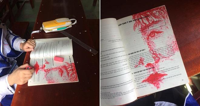 """Để buổi học đỡ nhạt, bạn chỉ cần hy sinh thỏi son để """"thổi hồn"""" vào trang sách thế này"""