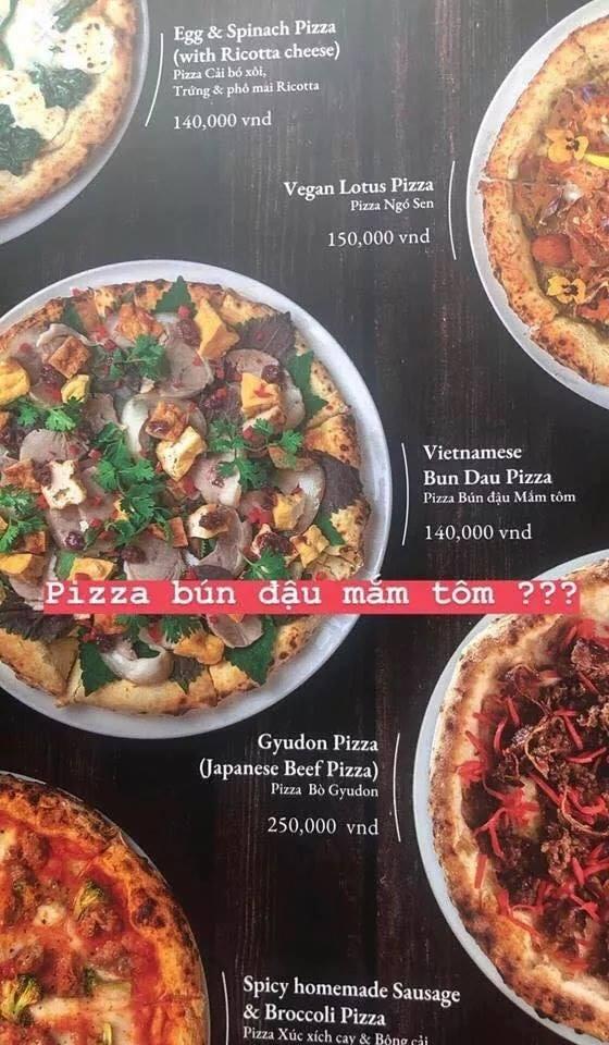 menu bánh pizza bún đậu mắm tôm