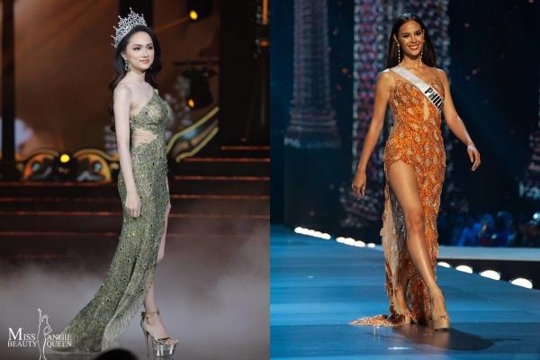 Xinh đẹp và lộng lẫy trong đêm cuối nhiệm kỳ, nhưng Hương Giang bất ngờ bị nghi mặc váy nhái của Hoa hậu Hoàn vũ thế giới 2018