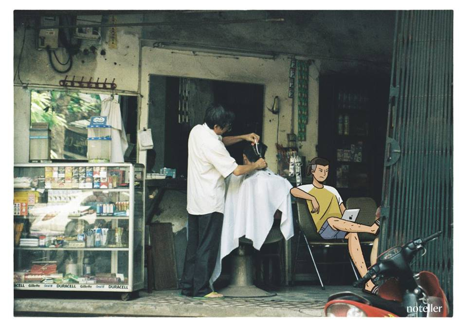 Những tiệm cắt tóc ven đường luôn là hình ảnh thân thuộc, khó lẫn vào đâu được.