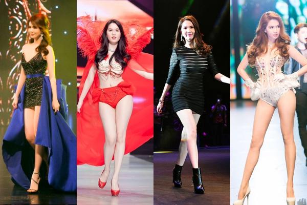 """Những lần toả sáng của Ngọc Trinh ở  """"Đêm hội chân dài"""" qua 12 mùa: Từ cô người mẫu quê mùa đến Vedette hàng đầu Vbiz"""