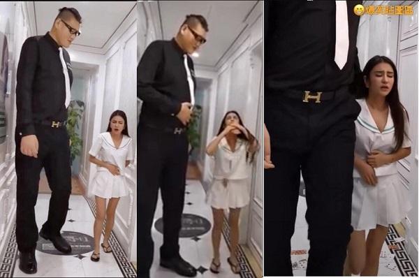 Đừng vội nghĩ bậy, đây mới là sự thật đằng sau bức ảnh chàng trai cao 2,38m và cô gái 1,6m ôm bụng đi trong khách sạn
