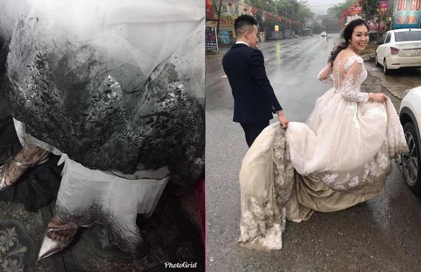 Cô dâu lấy chồng ngày mưa: Ẩn sau bộ váy xinh đẹp, lộng lẫy là đôi chân lấm lem bùn đất khiến ai cũng ngao ngán