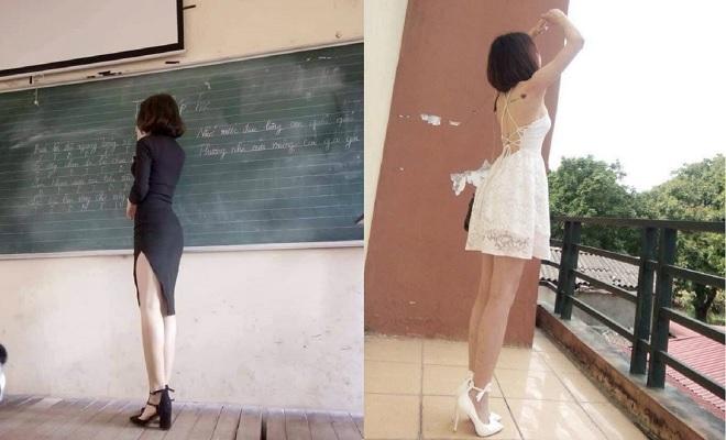 Sự thật về bức ảnh cô giáo diện váy như dạ hội trên bục giảng khiến dư luận xôn xao