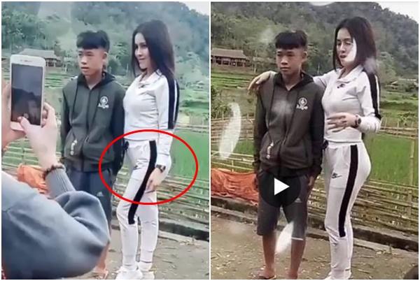Chụp ảnh cùng nam sinh vùng cao, Thư Dung bị chửi vì ưỡn người tạo dáng, độn mông quá đà