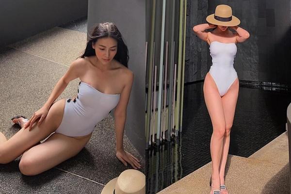 Giữa nghi án PTTM, Hoa hậu Trái Đất tránh khoe mặt, thu hút sự chú ý vào thân hình đồng hồ cát khi mặc monokini