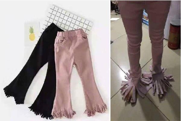 """Đặt mua quần màu hồng tua rua sành điệu, cô nàng """"ngã ngửa"""" khi nhận về chiếc quần như """"chổi lau nhà di động"""""""
