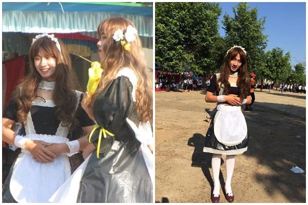 """Trai lớp """"người ta"""" hóa trang thành cô hầu gái xinh hơn cả chị em, nhìn vào bộ váy mới bất ngờ"""