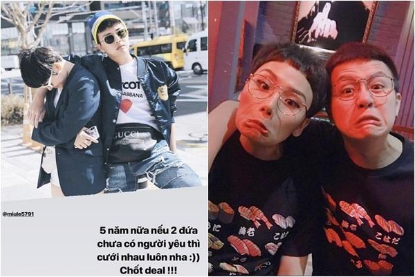 """Giữa tin đồn """"nghỉ chơi"""", Duy Khánh đăng lại toàn bộ ảnh đồ đôi với Miu Lê, còn """"hẹn ước"""": 5 năm nữa còn độc thân thì cưới luôn nha!"""