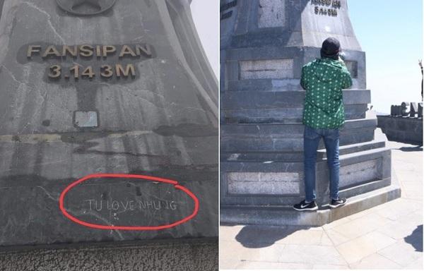 """Kỹ thuật toát mồ hôi suốt hơn 1 giờ xoá dòng chữ """"Tú love Nhung"""" khắc trên cột cờ đỉnh Fansipan"""