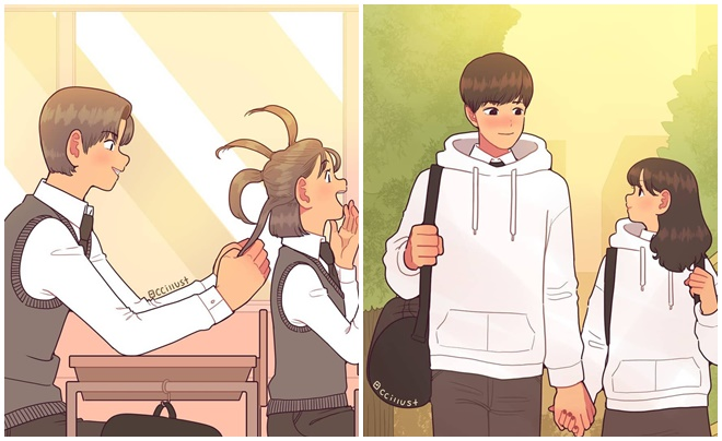 """Bộ tranh """"ngọt lịm"""" khắc họa cảnh tượng """"crush"""" một ai đó của học trò thời nay"""