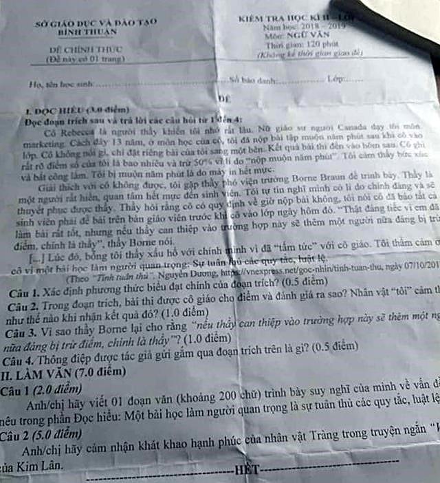 Ảnh 1: Lộ đề thi học kỳ tại Bình Thuận