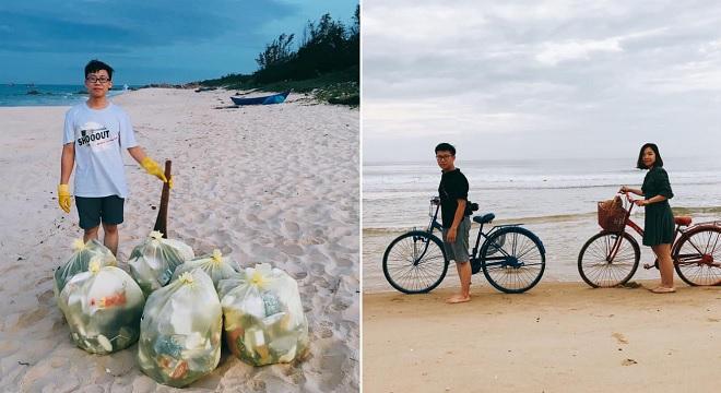 Cặp vợ chồng biến tuần trăng mật thành những ngày làm sạch bãi biển nhận ngàn lời khen