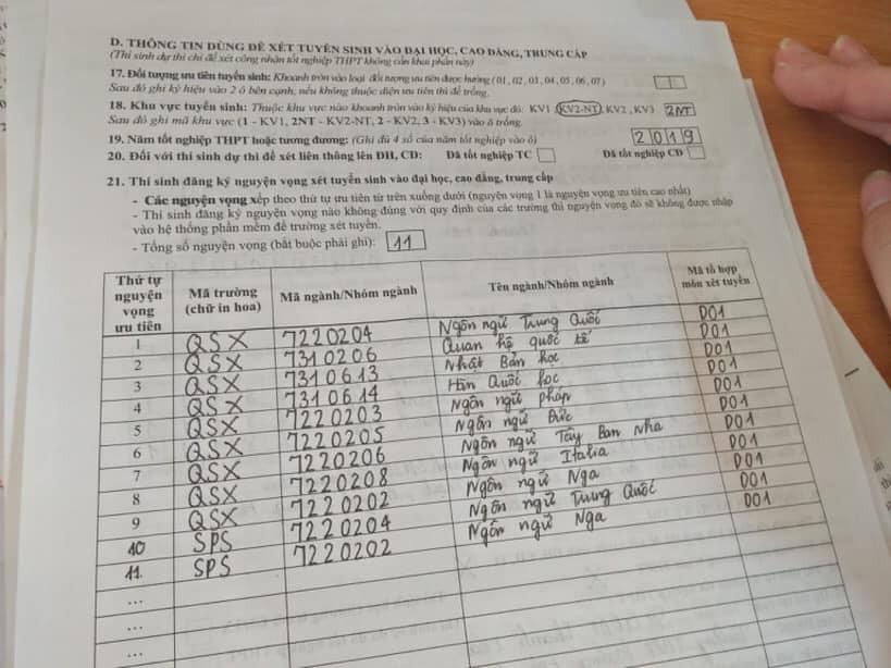 Ảnh 4: Những lỗi sai khi viết hồ sơ thi đại học