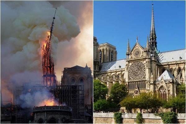 Quang cảnh Nhà thờ Đức Bà Paris trước và sau vụ cháy thảm họa khiến ai nhìn cũng phải xót xa