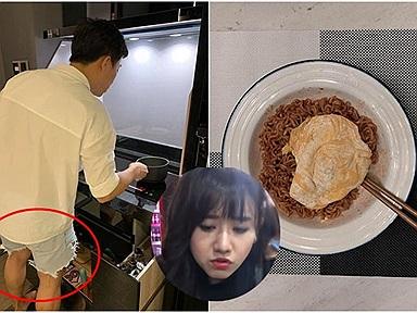 """Khoe vào bếp nấu ăn cho bà xã, Trấn Thành làm """"trò cười"""" trên MXH chỉ vì...chiếc quần đùi"""