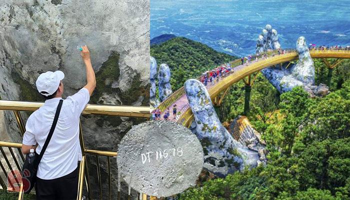 Góc ngán ngẩm: Mặc mọi người xung quanh ngăn cản , thanh niên vẫn thản nhiên vẽ bậy lên Cầu Vàng Đà Nẵng
