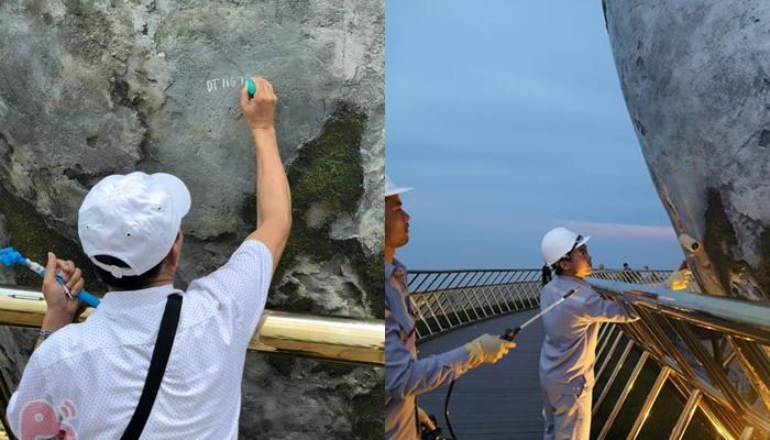 Cầu Vàng Đà Nẵng đã được công nhân sơn sửa lại sau hành động xấu của 1 thanh niên