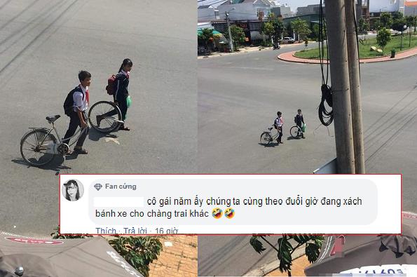 """Bức ảnh """"thanh xuân"""" khiến nhiều người đặt câu hỏi: Người cùng bạn dắt chiếc xe đạp hỏng năm ấy giờ ra sao?"""