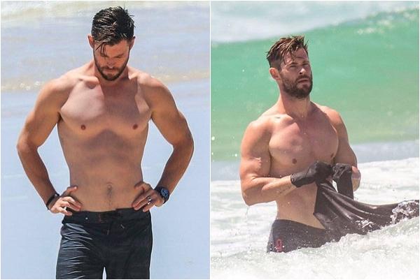 """Chỉ là ra biển thôi, """"thần sấm"""" Thor vẫn chứng minh body thật vẫn còn """"nuột"""" lắm"""