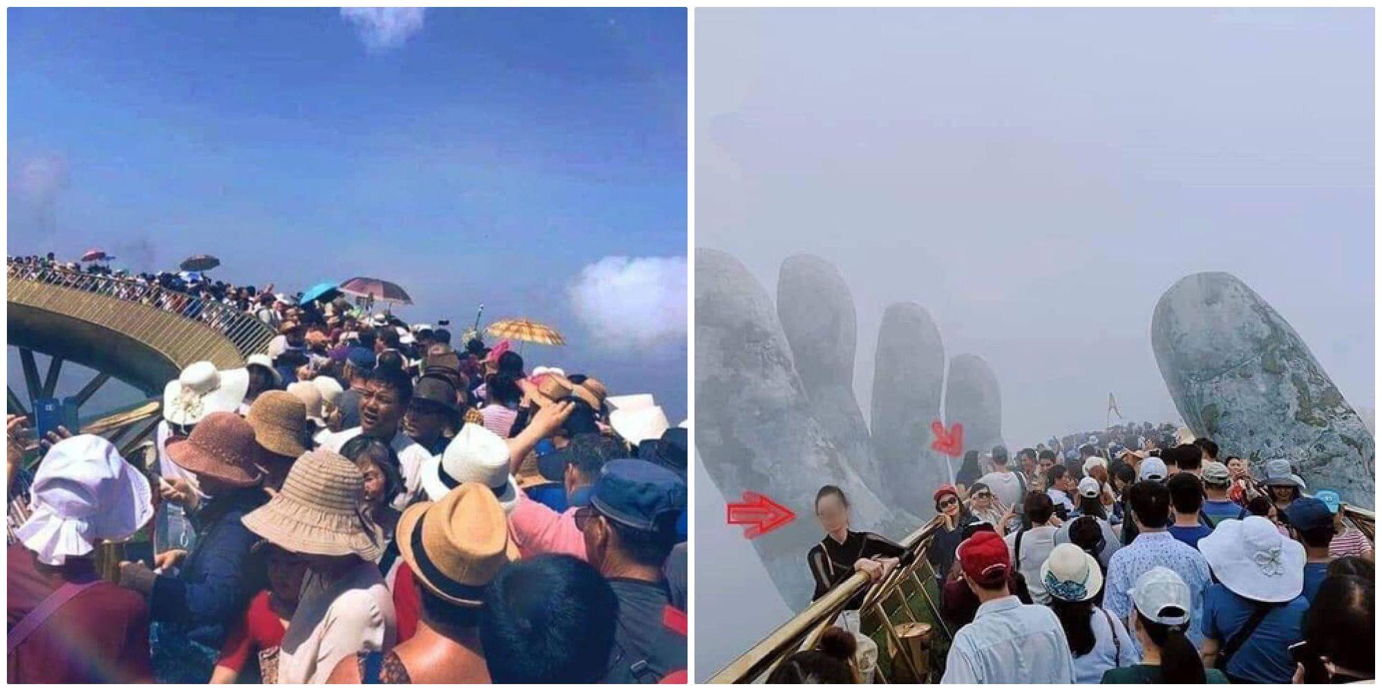 Hình ảnh kinh hoàng nhất dịp nghỉ lễ vừa rồi chắc chắn là cầu Vàng Đà Nẵng