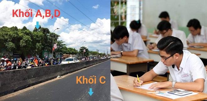 Đang mùa thi, học sinh thấy tắc đường cũng ám ảnh liên tưởng ngay việc chọn khối thi