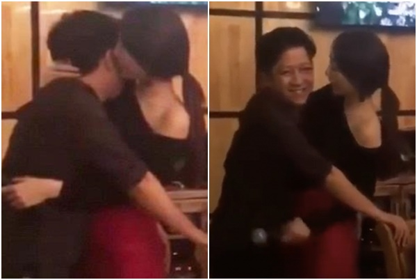 Lộ clip Nhã Phương mặc trễ nải, chủ động ôm hôn Trường Giang trong quán bar lúc mới yêu