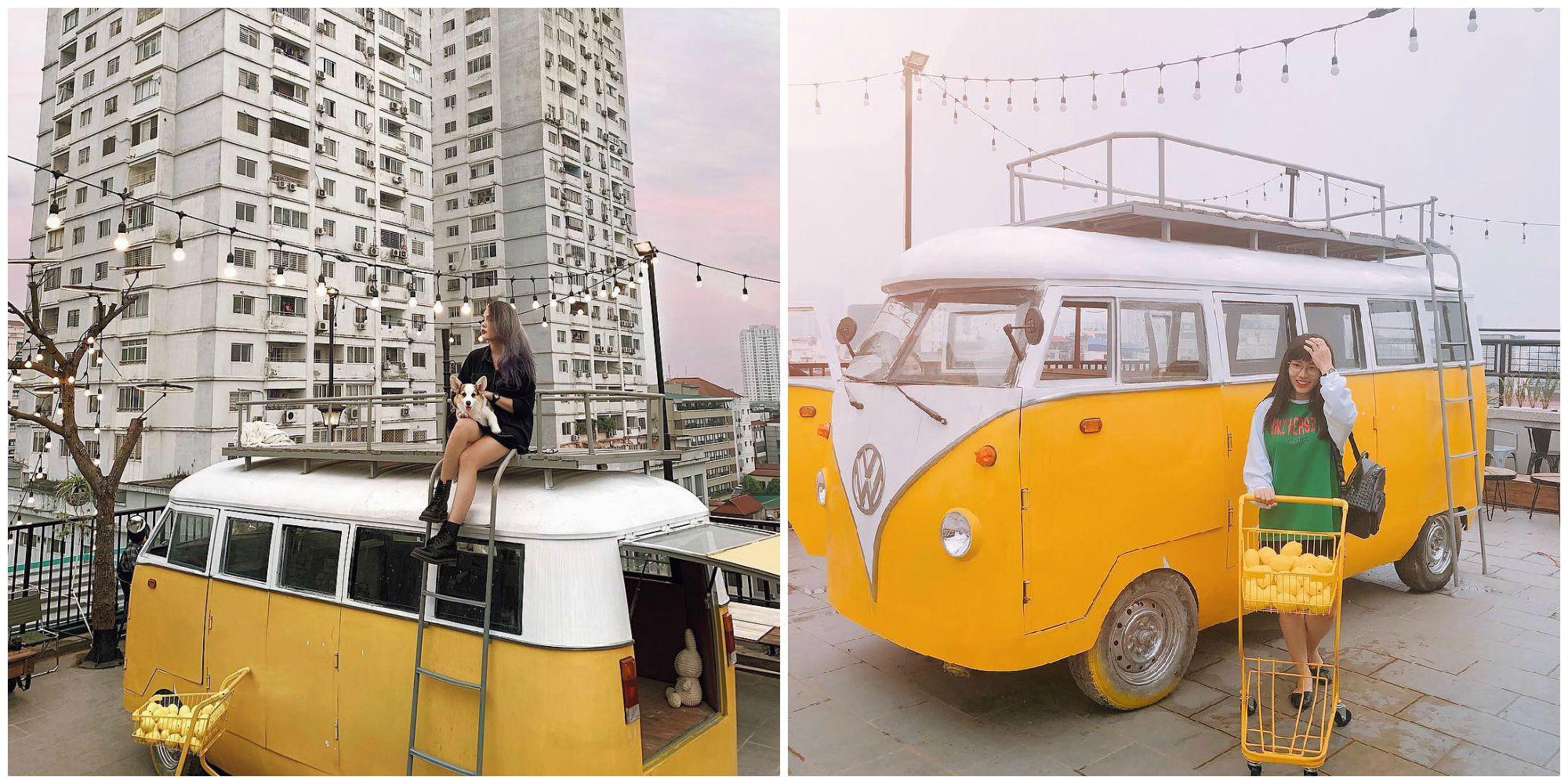 """Xác định tọa độ XE VÀNG """"thần thánh"""" ở quán cafe rooftop giữa lòng Hà Nội đang được check-in ầm ầm"""
