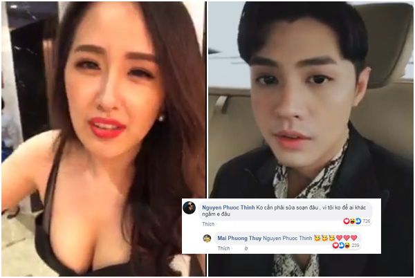 """Fans """"sởn da gà"""" khi thấy Noo Phước Thịnh thả thính tình cũ Mai Phương Thúy quá sến súa!"""