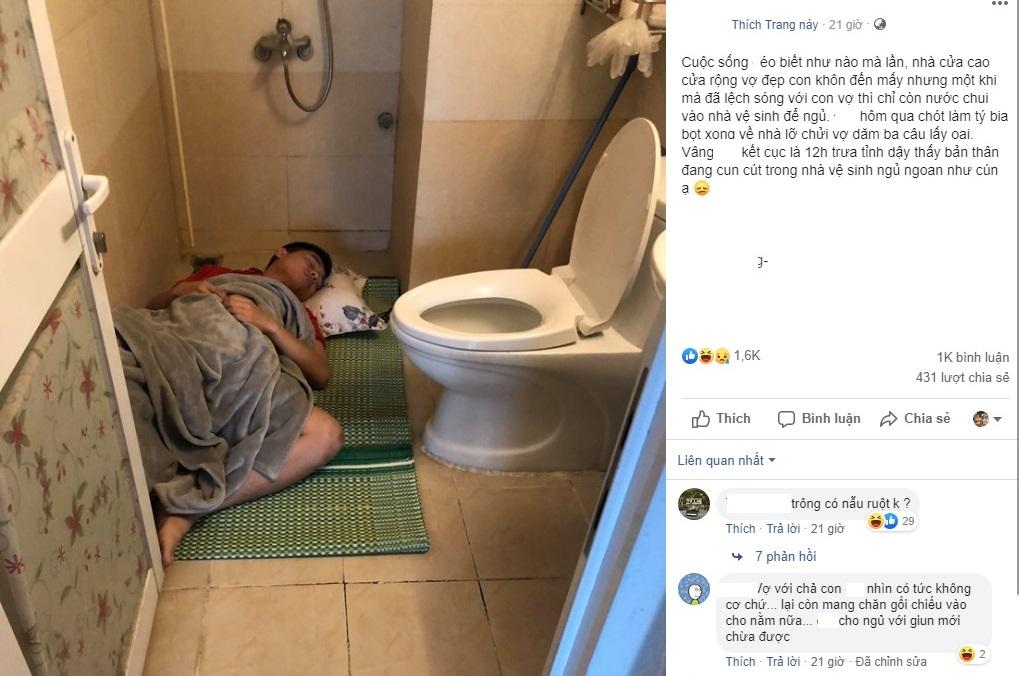 """Cái kết của việc đã xỉn còn lớn tiếng với vợ lấy oai: """"Lệch sóng"""" phát là """"cun cút"""" vào nhà vệ sinh ngủ nhé!"""