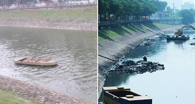 Ngỡ ngàng nước sông Tô Lịch chuyển màu xanh, công ty thoát nước nói sao?