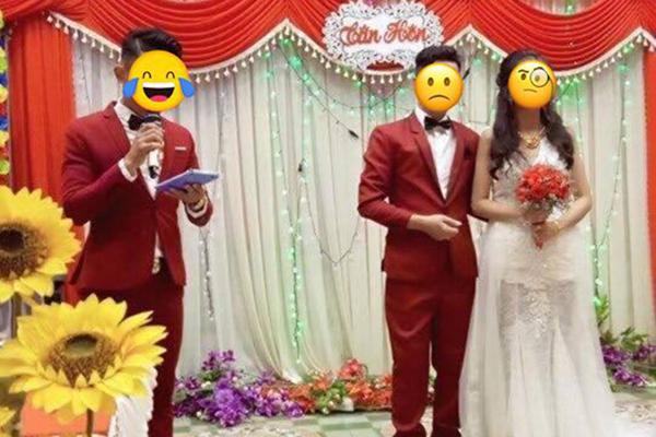 """Sự cố hi hữu: Cô dâu bỗng """"lạc quẻ"""" vì chú rể mặc đồ đôi với... MC đám cưới"""