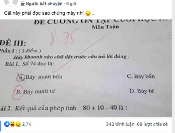 """Toán lớp 1 gây tranh cãi: Số 74 đọc là """"bảy mươi tư"""" hay """"bảy mươi bốn"""" mới đúng?"""