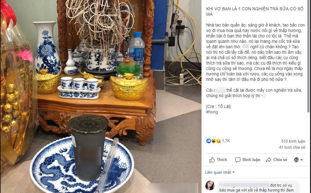 """Than vợ nghiện trà sữa, mua cả trà sữa về thắp hương, anh chồng được CĐM góp ý """"cẩn thận các cụ hóc trân châu"""""""